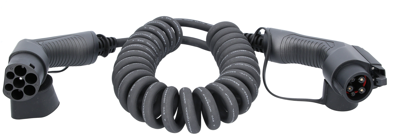 efuturo® flexible link Spiralladekabel Typ 2 auf Typ 1 Stecker